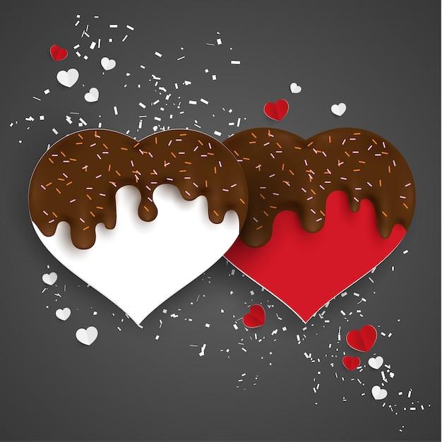Spritzer von schokolade und liebesformen Premium Vektoren