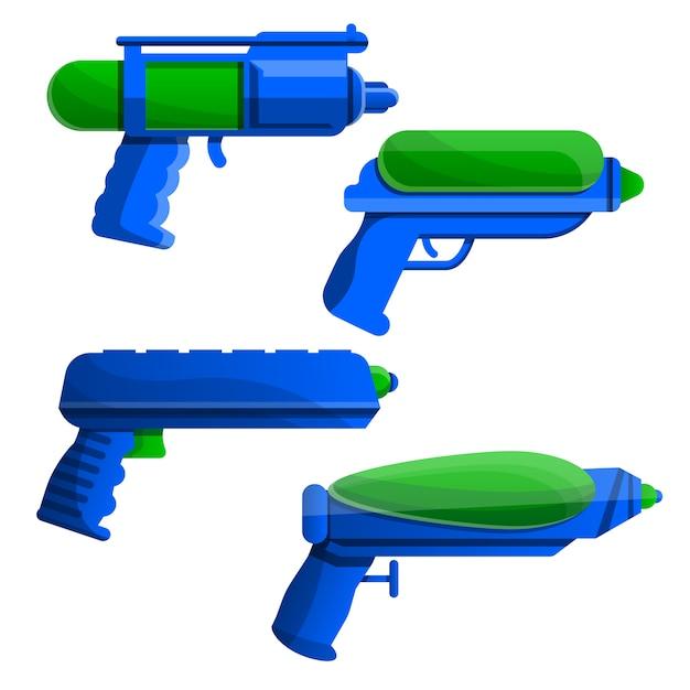 Spritzpistolen-ikonensatz, karikaturart Premium Vektoren
