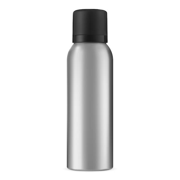 Sprühdose. haarspray aerosol aluminium kann leer. deo-zylinderflasche isoliert. aluminium-metall-lufterfrischer oder antitranspirant-verpackungsmodell. realistischer schönheitsproduktbehälter Premium Vektoren