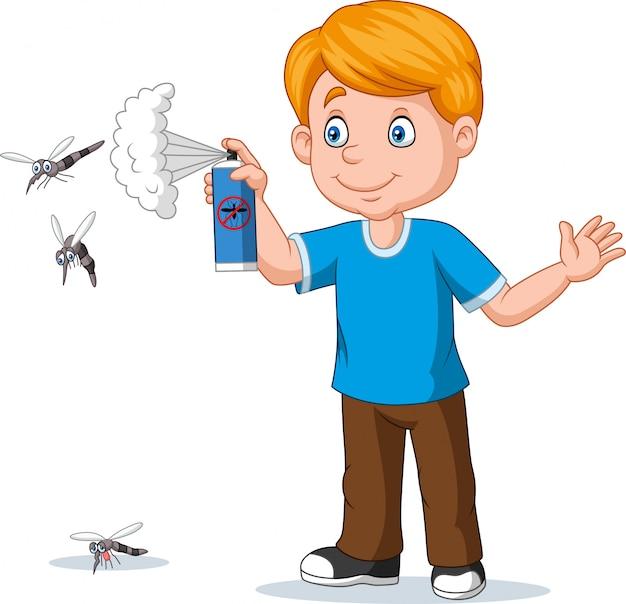 Sprühender insektenmörder des karikaturjungen zu den moskitos Premium Vektoren