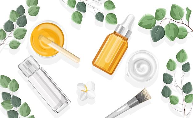 Sprühflaschen für naturkosmetikprodukte Premium Vektoren