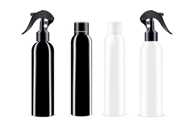 Sprühflaschen in schwarz-weißer farbe Premium Vektoren