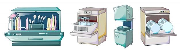 Spülmaschinenikonen eingestellt, karikaturart Premium Vektoren