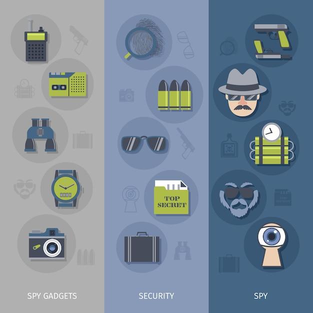 Spy gadgets banner gesetzt Premium Vektoren