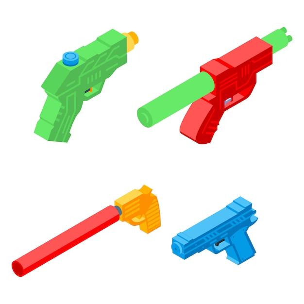 Squirt gun icons set, isometrischer stil Premium Vektoren