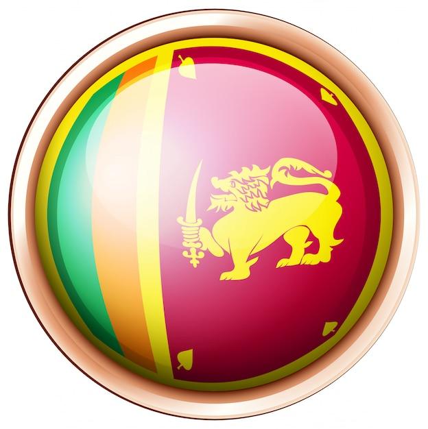 Sri lanka flagge auf rundem knopf Kostenlosen Vektoren