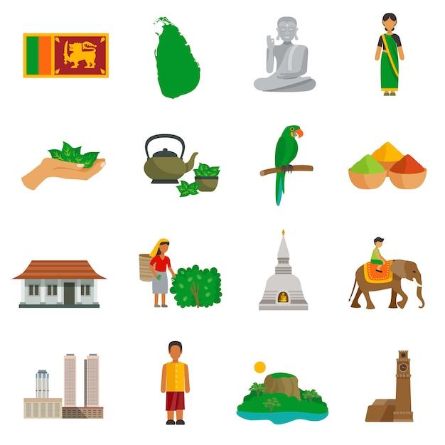 Sri lanka icons Kostenlosen Vektoren