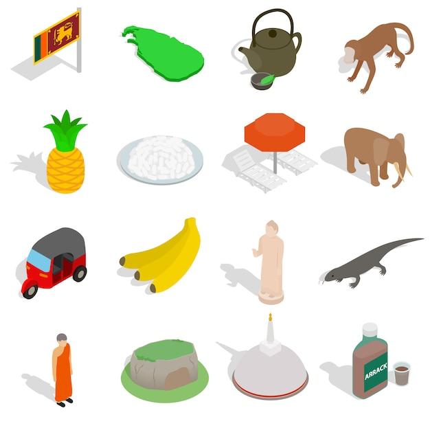 Sri lanka-ikonen stellten in die isometrische art 3d ein, die auf weißem hintergrund lokalisiert wurde Premium Vektoren