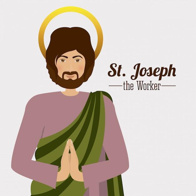 St. joseph mit seinen händen in einer betenden geste Premium Vektoren