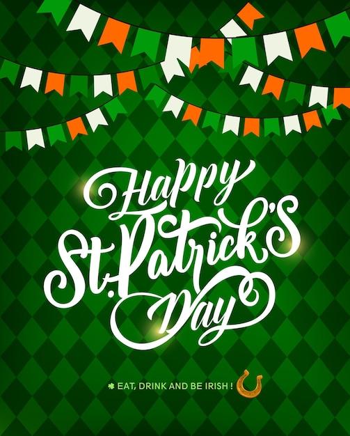 St. patrick day feiertagsgrußkarte, beschriftung und hufeisen Premium Vektoren