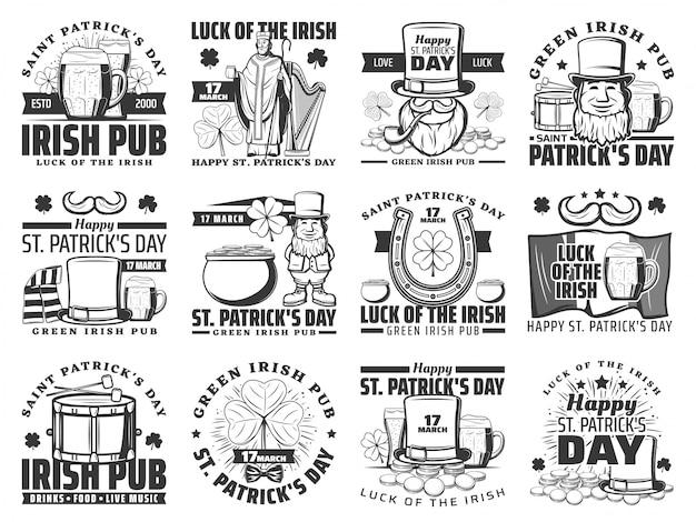 St patrick day irischen urlaub logo set Premium Vektoren