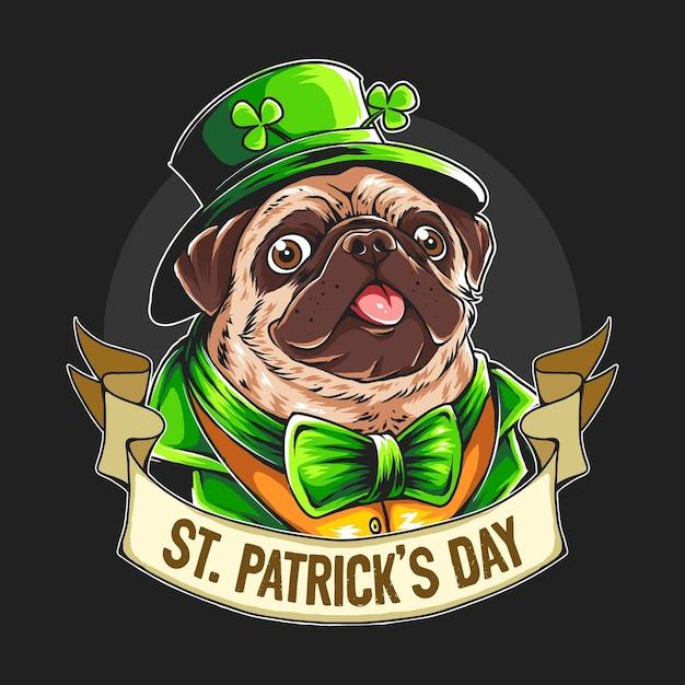St. patrick's day der mops trägt eine grüne schleife und einen hut. bearbeitbare ebenen grafik Premium Vektoren