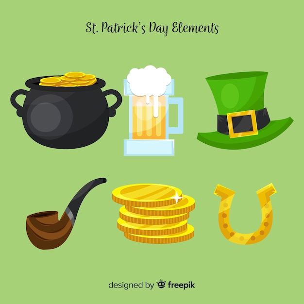 St. patrick's day element sammlung Kostenlosen Vektoren