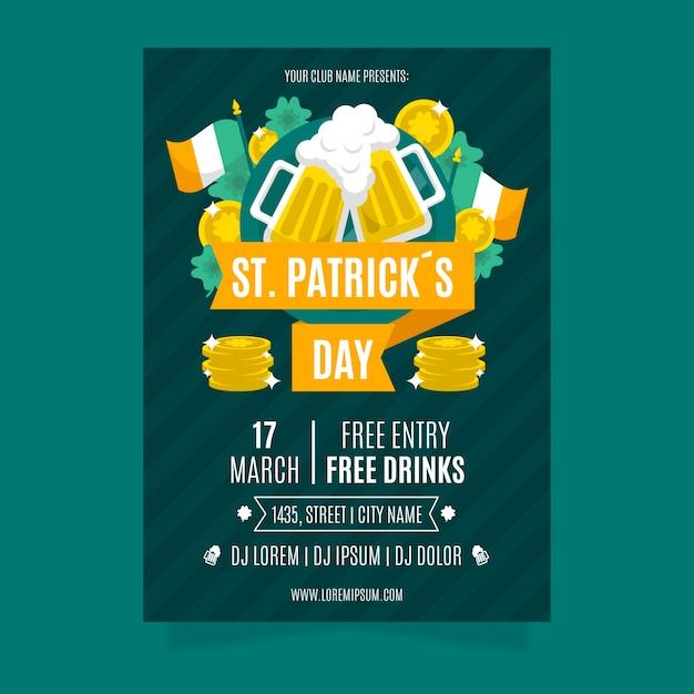 St. patrick's day flyer mit bier und flagge Kostenlosen Vektoren
