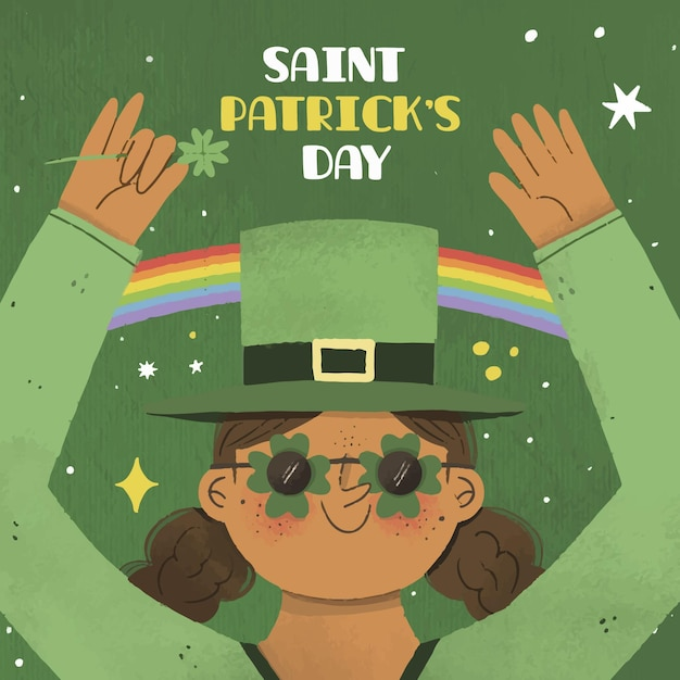 St. patrick's day frau in grün und regenbogen gekleidet Kostenlosen Vektoren