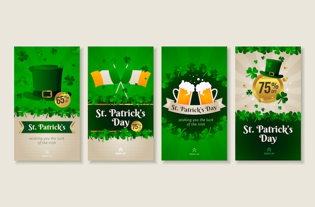 St. patrick's day instagram geschichten sammlung Kostenlosen Vektoren