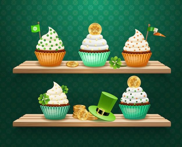St. patrick's day süßigkeiten zusammensetzung Kostenlosen Vektoren