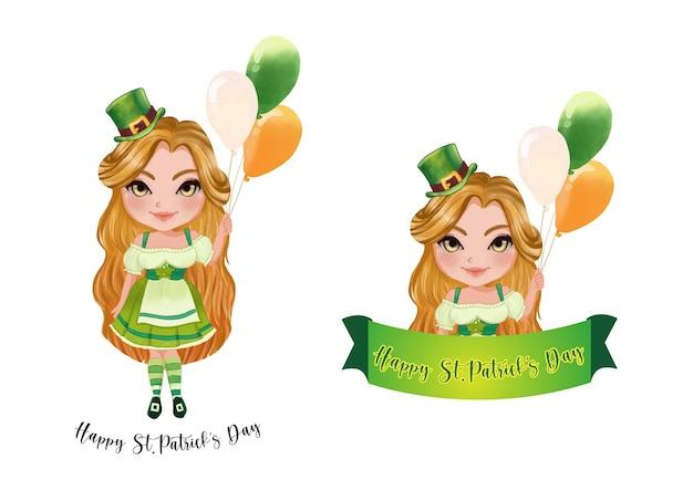 St.patrick's girl im irischen brauch. glücklicher st. patrick's day. sammlung des st. patrick's day Premium Vektoren