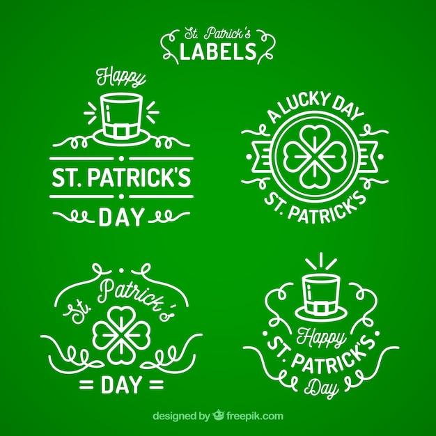 St. patricks day abzeichen / label sammlung Kostenlosen Vektoren