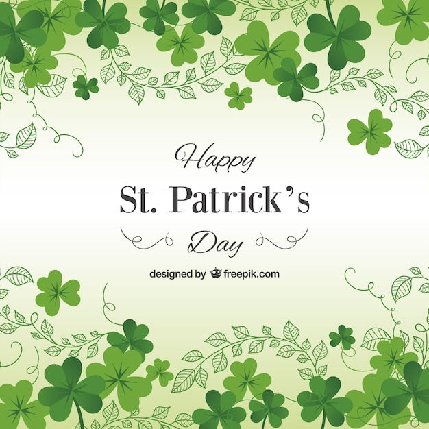 St. patricks day card mit kleeblättern Kostenlosen Vektoren