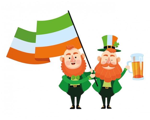 St. patricks day elfen cartoons Premium Vektoren