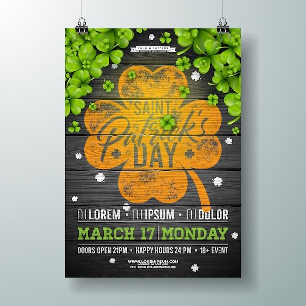 St. patricks day feier party flyer illustration mit klee und typografie brief auf vintage holz hintergrund. Kostenlosen Vektoren