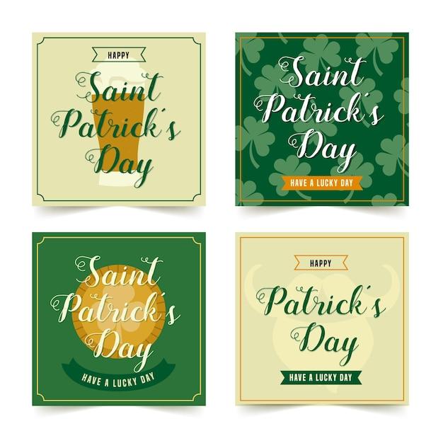 St. patricks day instagram beitragssammlung Kostenlosen Vektoren