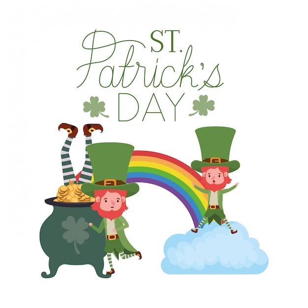 St. patricks day label mit leprechauns charakter Premium Vektoren