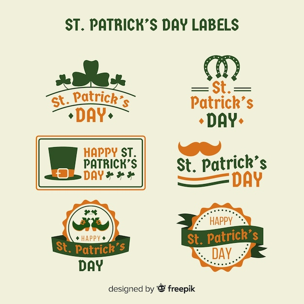 St. patricks day label-sammlung Kostenlosen Vektoren