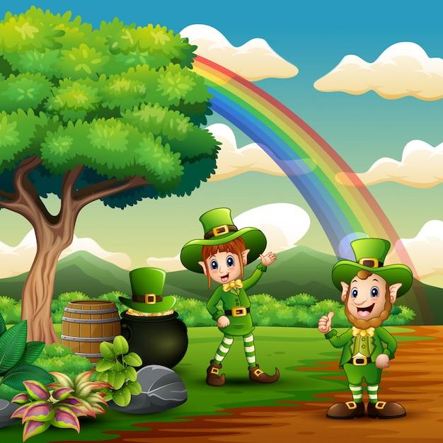 St. patricks day leprechaun feiern auf der natur Premium Vektoren