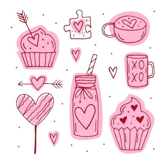 St.valentine `s tagessatz elemente, clipart, aufkleber. tasse, puzzlespiel, muffin, cocktail, pfeil, süßigkeit, herzlinie kunst. handgezeichnete s. Premium Vektoren