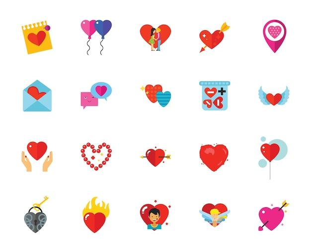 St. Valentinstag Icon Set Kostenlose Vektoren