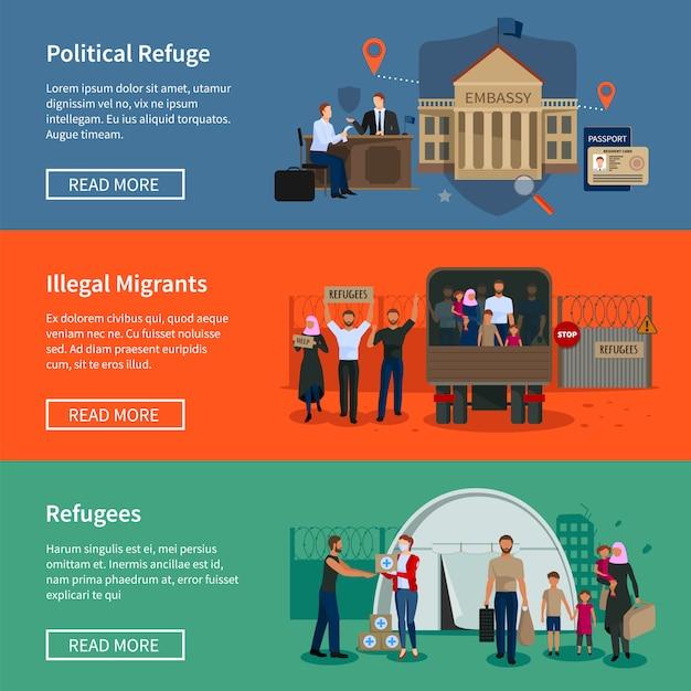 Staatenlose flüchtlingsfahnen mit illegalen muslimischen migranten flohen vor dem krieg Kostenlosen Vektoren