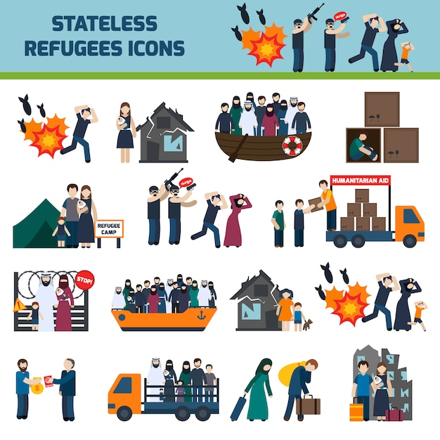 Staatenloser flüchtlingszeichensatz Kostenlosen Vektoren