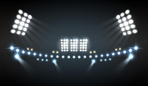 Stadion beleuchtet realistische komposition mit show- und technologiesymbolen Kostenlosen Vektoren