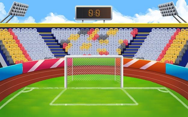 Stadion, fußballtorvektorhintergrund Premium Vektoren