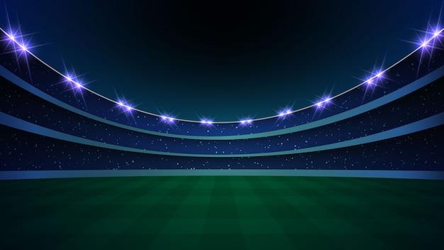 Stadion mit beleuchtung, grünem gras und nächtlichem himmel. Premium Vektoren