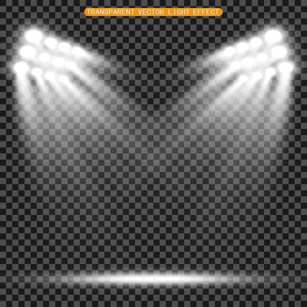 Stadionflutlichter beleuchten abend- oder nachtsportspiele, konzerte, shows und veranstaltungen hell. auf einem transparenten hintergrund isoliert. arenen mit hellen scheinwerfern. helle lichter. beleuchtete szene. Premium Vektoren