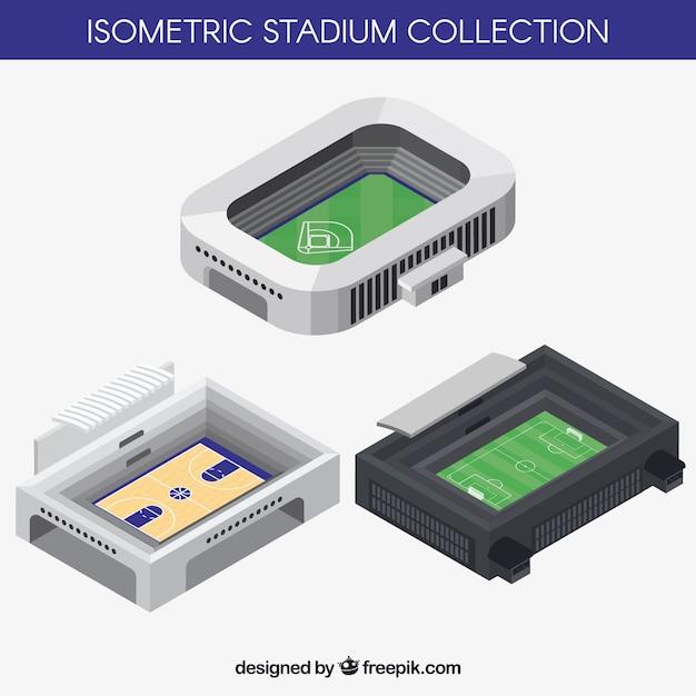 Stadions-sammlung im isometrischen stil Kostenlosen Vektoren