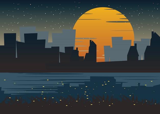 Stadt an der nachtvektorabbildung Premium Vektoren
