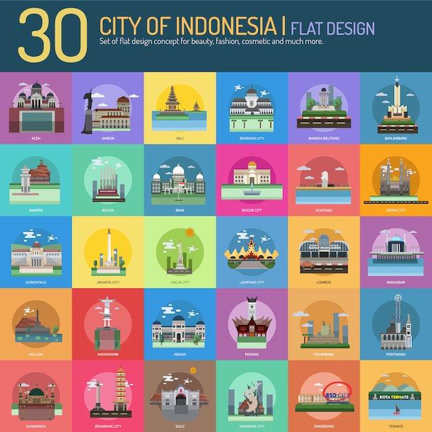 Stadt auf indonesien landschaft sammlung Kostenlosen Vektoren