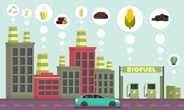 Stadt-biokraftstoffikonen eingestellt, entwurfsart Premium Vektoren