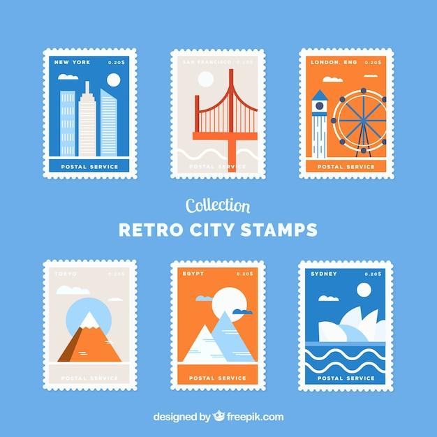 Stadt briefmarken sammlung im retro-stil Kostenlosen Vektoren