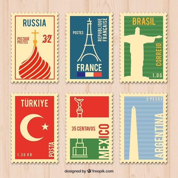 Stadt briefmarken sammlung in flachen stil Kostenlosen Vektoren