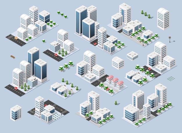 Stadt dreidimensionale winterstadt Premium Vektoren