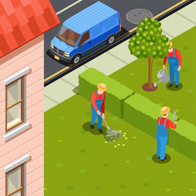 Stadt-gärtner-isometrische zusammensetzung Kostenlosen Vektoren