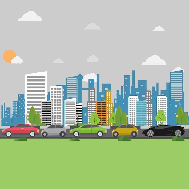 Stadt Hintergrund-Design Kostenlose Vektoren