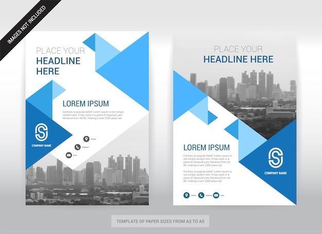 Stadt-hintergrund-geschäfts-abdeckungs-broschüren-design-schablone. einfach zu bedienen. Premium Vektoren