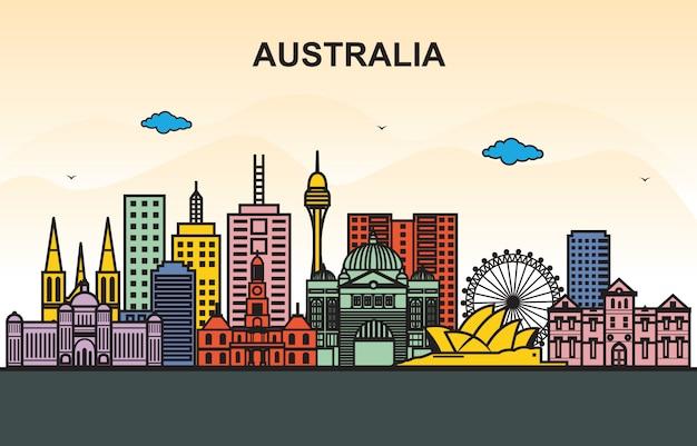 Stadt in der australien-stadtbild-skyline-ausflug-illustration Premium Vektoren