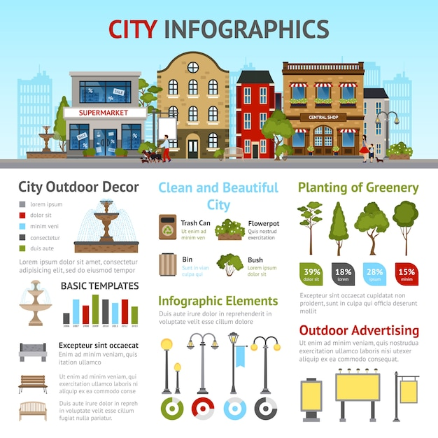Stadt-infografik-set Kostenlosen Vektoren